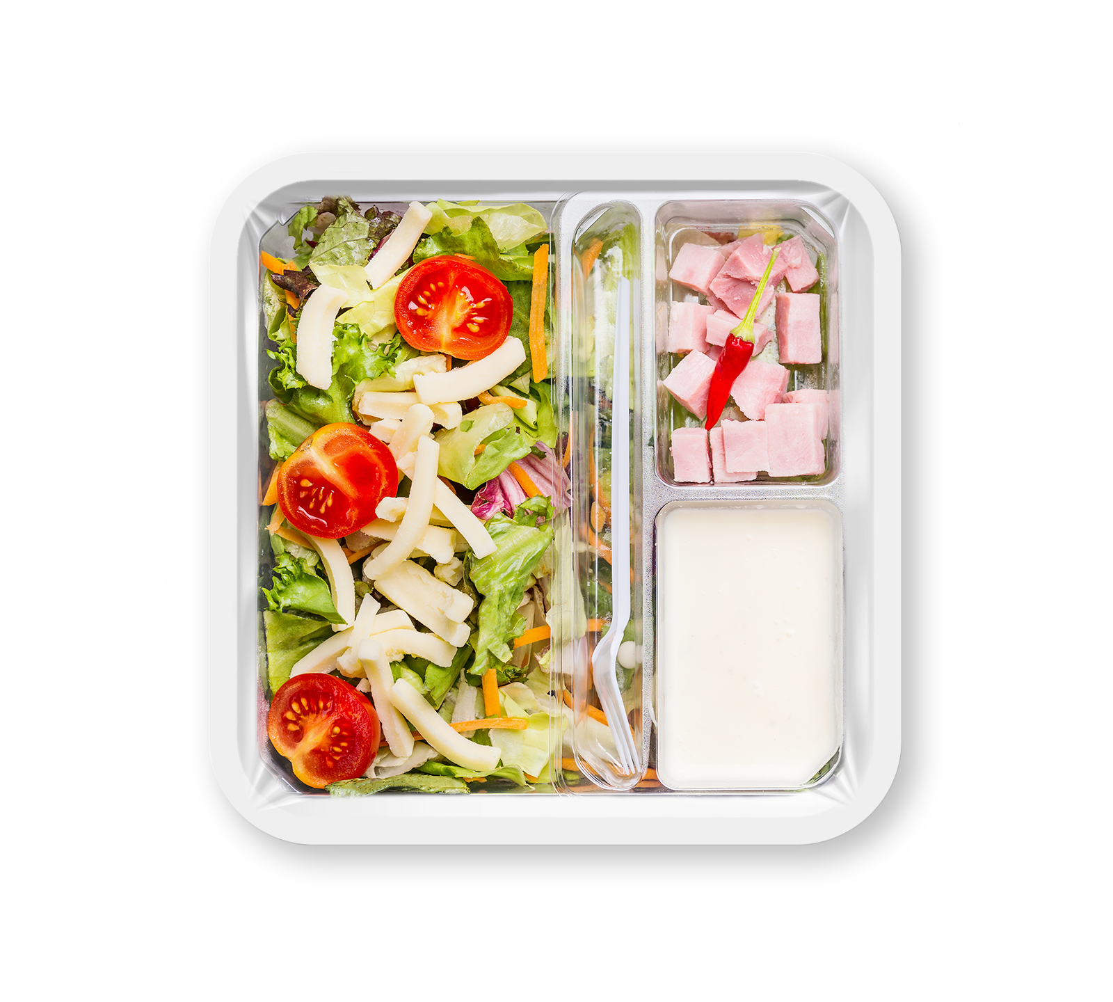 MAPtech's created custom salad packaging container that utilizes plastic film overlay and MAP technology
